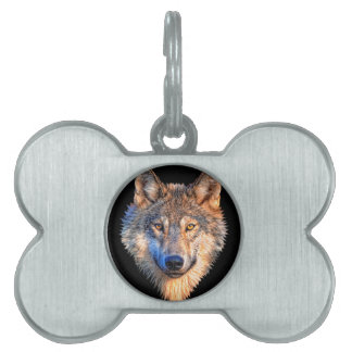 Grey wolf - wolf face pet name tag