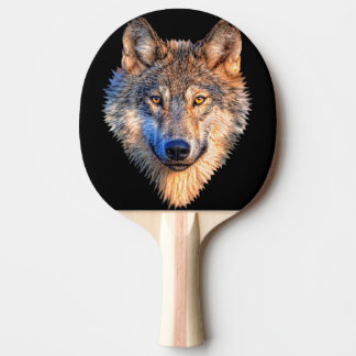 Grey wolf - wolf face ping pong paddle