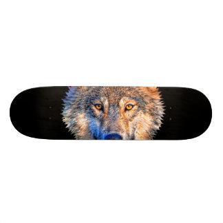 Grey wolf - wolf face skateboard