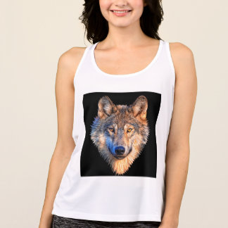 Grey wolf - wolf face tank top