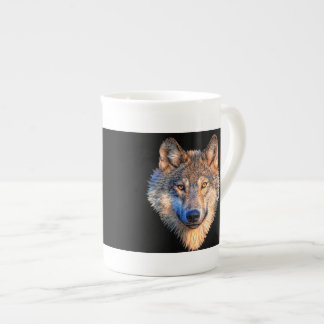 Grey wolf - wolf face tea cup