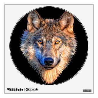Grey wolf - wolf face wall sticker