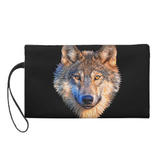 Grey wolf - wolf face wristlet
