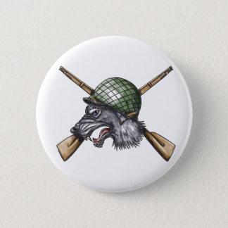 Grey Wolf WW2 Helmet Crossed Rifles Tattoo 2 Inch Round Button