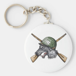 Grey Wolf WW2 Helmet Crossed Rifles Tattoo Basic Round Button Keychain
