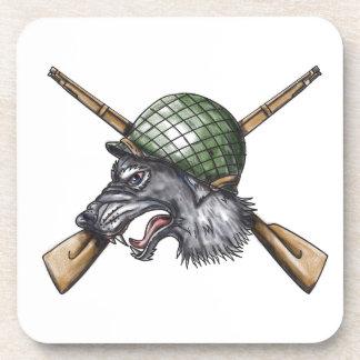 Grey Wolf WW2 Helmet Crossed Rifles Tattoo Coaster