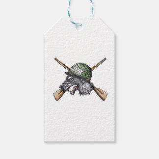 Grey Wolf WW2 Helmet Crossed Rifles Tattoo Gift Tags