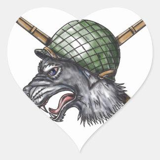 Grey Wolf WW2 Helmet Crossed Rifles Tattoo Heart Sticker