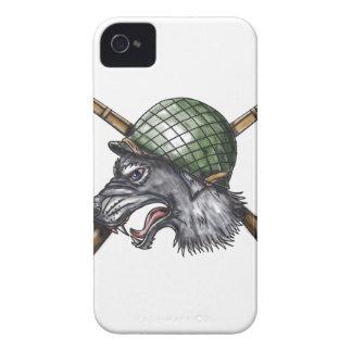 Grey Wolf WW2 Helmet Crossed Rifles Tattoo iPhone 4 Case