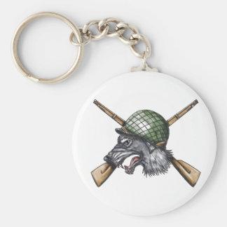 Grey Wolf WW2 Helmet Crossed Rifles Tattoo Keychain