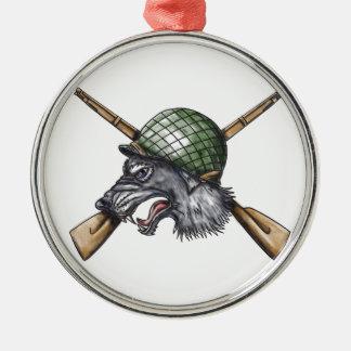 Grey Wolf WW2 Helmet Crossed Rifles Tattoo Metal Ornament