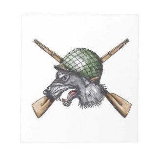 Grey Wolf WW2 Helmet Crossed Rifles Tattoo Notepad