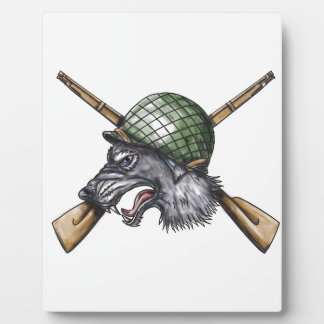 Grey Wolf WW2 Helmet Crossed Rifles Tattoo Plaque