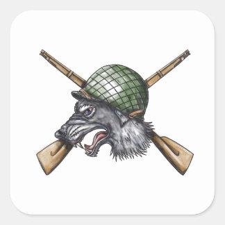 Grey Wolf WW2 Helmet Crossed Rifles Tattoo Square Sticker