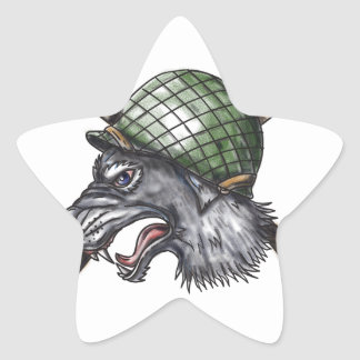 Grey Wolf WW2 Helmet Crossed Rifles Tattoo Star Sticker