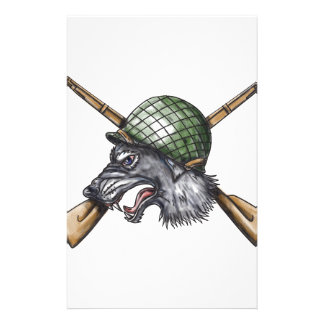 Grey Wolf WW2 Helmet Crossed Rifles Tattoo Stationery