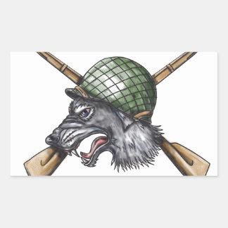 Grey Wolf WW2 Helmet Crossed Rifles Tattoo Sticker