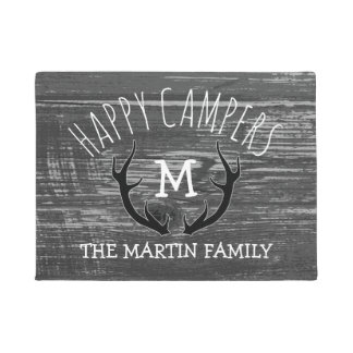 Grey Wood Deer Antlers Family Name Happy Campers Doormat