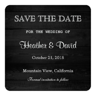Grey Wood Design Save the Date Wedding Card