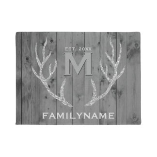 Grey Wood Glitter Deer Antlers Family Monogram Doormat
