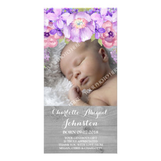 Grey Wood Purple Lavender Flowers Thank You Shower Picture Card