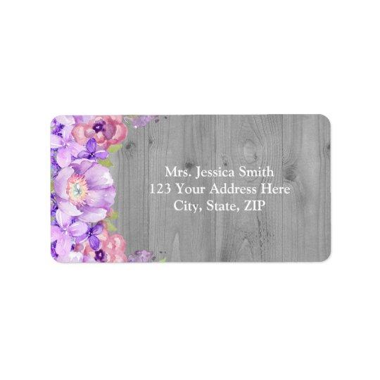 Grey Wood Purple Lilac Floral Return Address Label