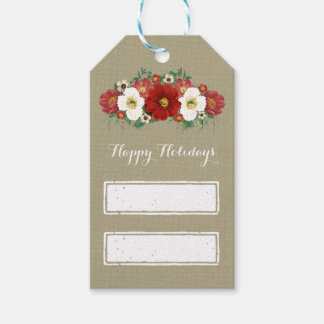 Grey Wood Vintage Red Floral Christmas Gift Tags Pack Of Gift Tags