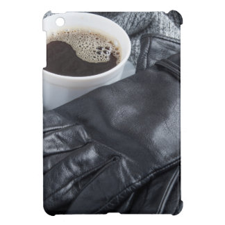 Grey wool scarf and leather gloves case for the iPad mini