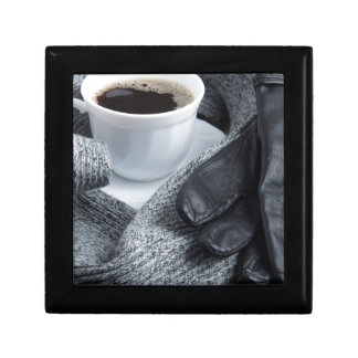 Grey wool scarf and leather gloves gift box