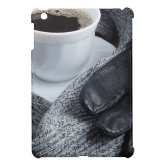 Grey wool scarf and leather gloves iPad mini case