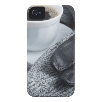 Grey wool scarf and leather gloves iPhone 4 covers
