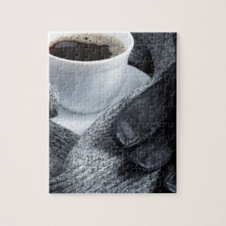 Grey wool scarf and leather gloves jigsaw puzzle