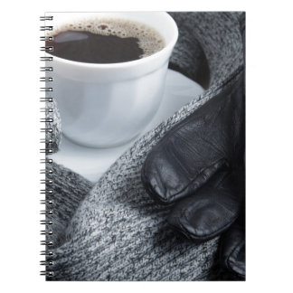 Grey wool scarf and leather gloves notebooks