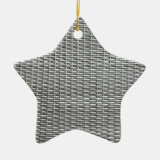 Grey woven webbing background ceramic star ornament