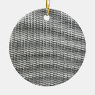 Grey woven webbing background round ceramic ornament