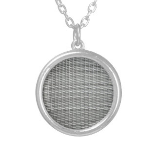 Grey woven webbing background silver plated necklace