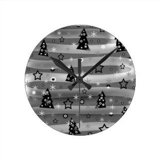 Grey Xmas magic Wall Clocks
