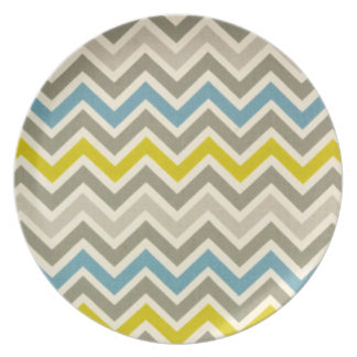Grey Yellow and Blue Chevron Plate