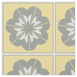 Grey Yellow And White Floral Motif Fabric