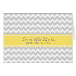 Grey Yellow Chevron Save the Date Announcement Greeting Card