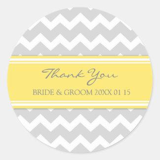 Grey Yellow Chevron Thank You Wedding Favor Tags