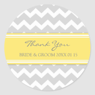 Grey Yellow Chevron Thank You Wedding Favor Tags Round Sticker