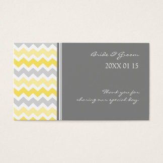 Grey Yellow Chevron Wedding Favor Tags Business Card