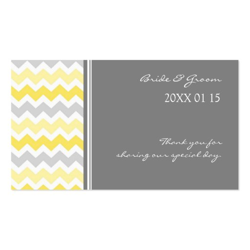 Grey Yellow Chevron Wedding Favor Tags Business Cards