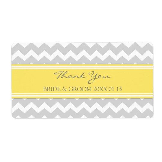 Grey Yellow Chevron Wedding Labels