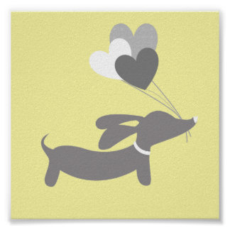 Grey & Yellow Dachshund Nursery Art with Hearts Poster