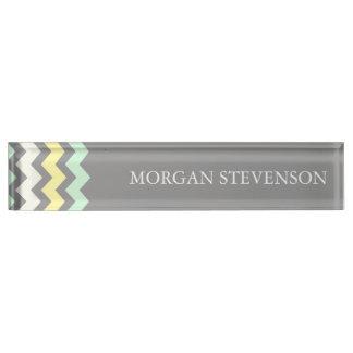 Grey Yellow Mint Chevron Desk Nameplate