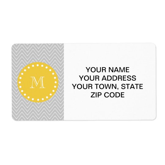 Grey & Yellow Modern Chevron Custom Monogram Shipping Label