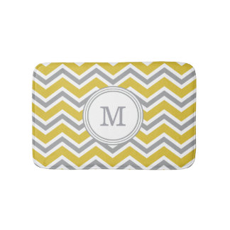 Grey Yellow Monogram Chevron Bath Mat