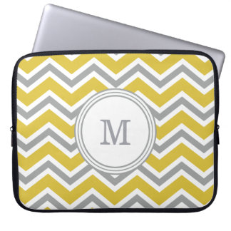 Grey Yellow Monogram Chevron Laptop Sleeve